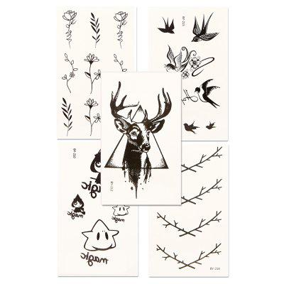 5pcs Temporary Tattoo Sticker Set Waterproof Cute Cartoon All Match AccessoryYMBY210-215