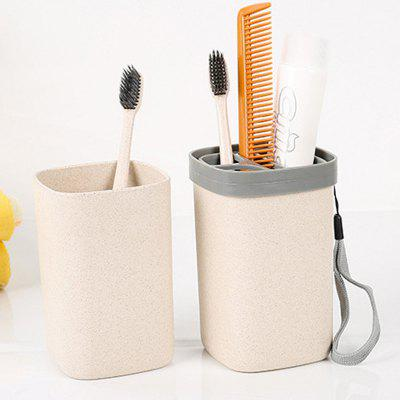 Wheat Straw Fibre Portable Travel Toothbrush and Toothpaste Cup Set