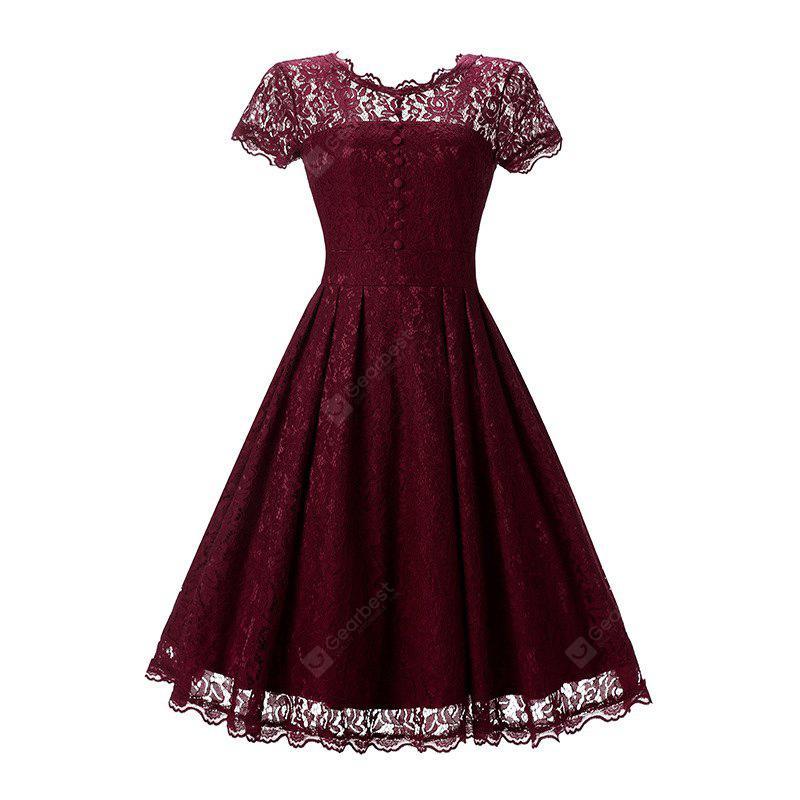 Round Neck Lace Vintage Dress