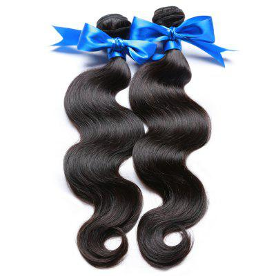 2 Bundle Unprocessed Virgin Indian Body Wave Human Hair Weaves - Natural Black