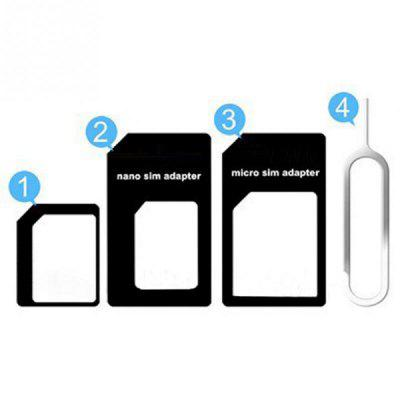 4in1 Nano Sim Card Adapter + Micro Sim cards adapter + Standard SIM Card Adapter With Eject pin for iPhone Samsung