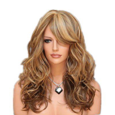 Long Curly Hair Fluffy Womens Wig Color Gradient Fake Headdress Wigs for Women