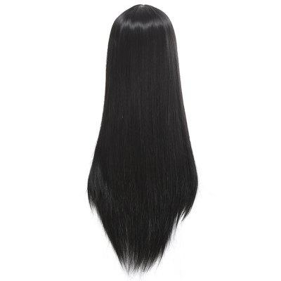 Black Long Straignt Wigs for Women Middle Distribution Type Hot Dyeable High Temperature Fiber Fake Hair