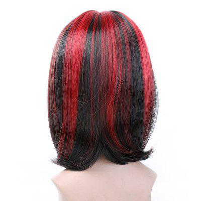 Short Straight Black Wine Red for Women Hot Dyeable Wigs Synthetic Hair Christmas Party Hairpiece