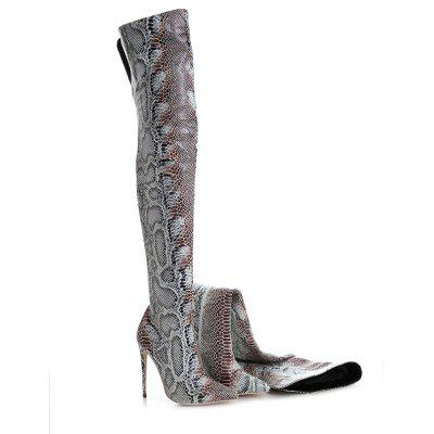 Fashion Boots Stiletto Heel Pointed Toe Over The Knee Boots Animal Skin Customized Materials