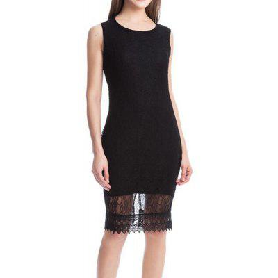 Women's Plus Size Street Chic Bodycon Solid Embroidered Round Neck Knee Length Short Sleeves Polyester Dress- XL BLACK