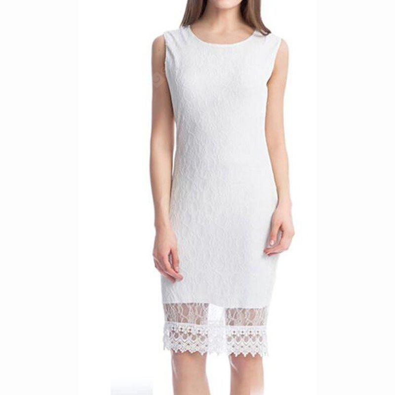 Women's  Plus Size Street Chic Bodycon Solid Embroidered Round Neck Knee Length Short Sleeves Polyester Dress
