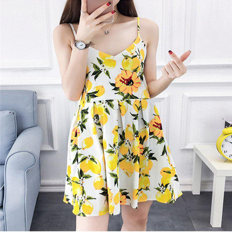 2018 Spring New Whole Cotton Lemon Print Dress