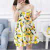 2018 Spring New Whole Cotton Lemon Print Dress - WHITE