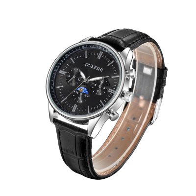 OUKESHI New Style Fashion Men Quartz Black Leather WatchMens Watches<br>OUKESHI New Style Fashion Men Quartz Black Leather Watch<br><br>Band material: Leather<br>Band size: 24.5 x 2cm<br>Case material: Stainless Steel<br>Clasp type: Buckle<br>Dial size: 4.2 x 4.2 x 1cm<br>Movement type: Quartz watch<br>Package Contents: 1 x Watch<br>Package size (L x W x H): 26.00 x 6.00 x 1.50 cm / 10.24 x 2.36 x 0.59 inches<br>Package weight: 0.0500 kg<br>Product size (L x W x H): 24.50 x 4.20 x 1.00 cm / 9.65 x 1.65 x 0.39 inches<br>Product weight: 0.0450 kg<br>Shape of the dial: Round<br>Watch style: Fashion, Casual, Business, Retro, Cool<br>Watches categories: Men<br>Water resistance: 30 meters