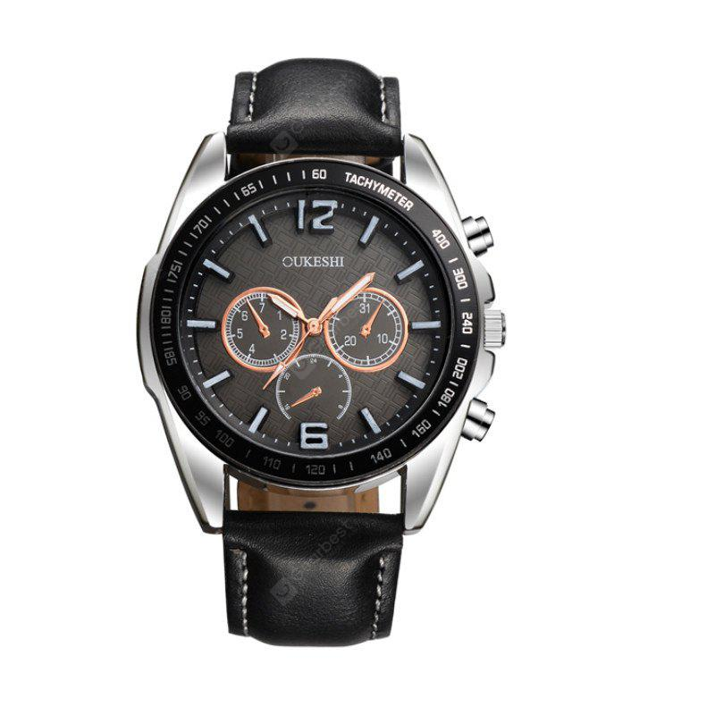 OUKESHI New Fashion Men Quartz Casual Leather Watch