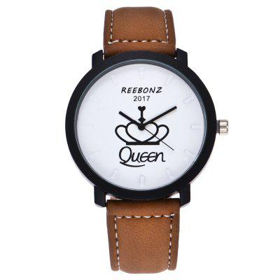 REEBONZ Fashion Leisure Personality KING QUEEN Quartz Watch