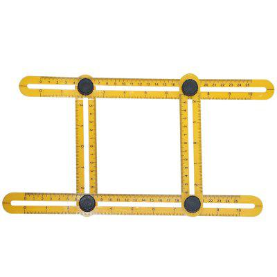 Multifunctional Four Folding Plastic Ruler Metric Scale Measuring Angle Ruler