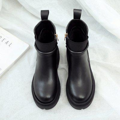 Soft Rubber Sole Antiskid Fashion Short Tube Martin BootsWomens Boots<br>Soft Rubber Sole Antiskid Fashion Short Tube Martin Boots<br><br>Boot Height: Ankle<br>Boot Type: Fashion Boots<br>Closure Type: Zip<br>Gender: For Women<br>Heel Type: Others<br>Package Contents: 1x Shoes(pair)<br>Pattern Type: Solid<br>Season: Spring/Fall<br>Toe Shape: Round Toe<br>Upper Material: PU<br>Weight: 1.2800kg