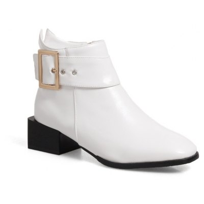 Women Shoes Zip Square Toe Low Heel Ankle Boots