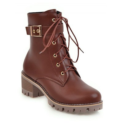 Women Shoes Lace-up ZipChunky Heel Combat Boots