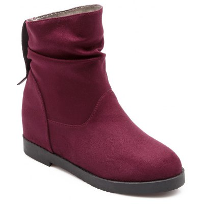 Women Shoes Height Increasing Round Toe Ankle Boots
