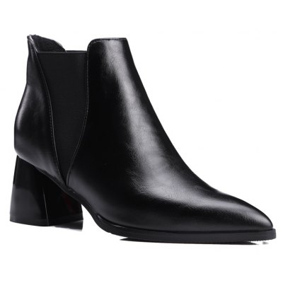 Women Shoes Slip-On Chunky Heel Pointed Toe Concise Boots