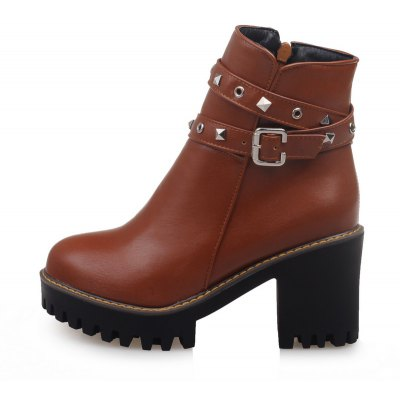 Women Shoes Round Toe Zip Chunky Heel BootiesWomens Boots<br>Women Shoes Round Toe Zip Chunky Heel Booties<br><br>Boot Height: Ankle<br>Boot Tube Circumference: 25<br>Boot Tube Height: 10<br>Boot Type: Motorcycle Boots<br>Closure Type: Zip<br>Embellishment: Rivet<br>Gender: For Women<br>Heel Height: 8<br>Heel Height Range: High(3-3.99)<br>Heel Type: Chunky Heel<br>Insole Material: PU<br>Lining Material: PU<br>Outsole Material: Rubber<br>Package Contents: 1xShoes(pair)<br>Pattern Type: Solid<br>Platform Height: 2.5<br>Season: Winter<br>Shoe Width: Medium(B/M)<br>Toe Shape: Round Toe<br>Upper Material: PU<br>Weight: 1.4520kg
