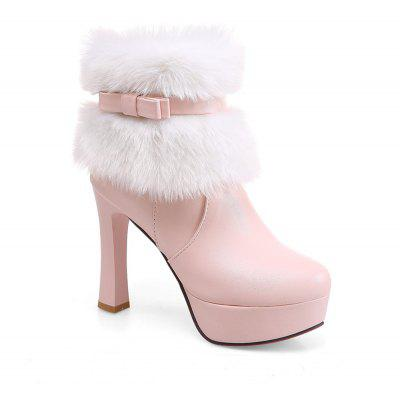 Women Shoes Round Toe Sweet Bowtie Ankle Boots