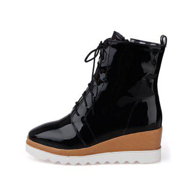 Women Shoes Patent Leather Lace-Up Wedge Heel Square Toe Fashion BootsWomens Boots<br>Women Shoes Patent Leather Lace-Up Wedge Heel Square Toe Fashion Boots<br><br>Boot Height: Mid-Calf<br>Boot Tube Circumference: 26<br>Boot Tube Height: 13<br>Boot Type: Fashion Boots<br>Closure Type: Lace-Up<br>Gender: For Women<br>Heel Height: 5<br>Heel Height Range: Med(1.75-2.75)<br>Heel Type: Wedge Heel<br>Insole Material: PU<br>Lining Material: PU<br>Outsole Material: Rubber<br>Package Contents: 1xShoes(pair)<br>Pattern Type: Solid<br>Platform Height: 3<br>Season: Winter<br>Shoe Width: Medium(B/M)<br>Toe Shape: Square Toe<br>Upper Material: PU<br>Weight: 1.4520kg