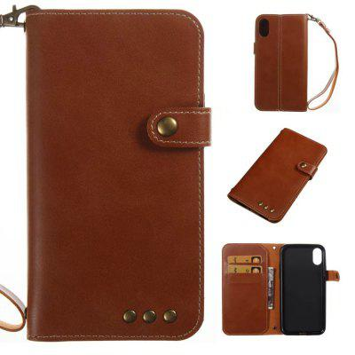 For iPhone X Case Genuine Leather Flip Cover Wallet Style Shell