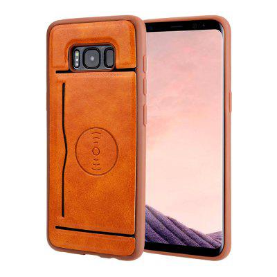 Magnetic Suction Card Holder PU Leather Soft Phone Case for Samsung Galaxy S8 Plus