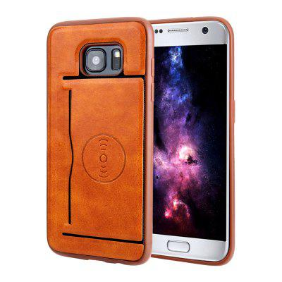 Magnetic Suction Card Holder PU Leather Soft Phone Case for Samsung Galaxy S7 Edge