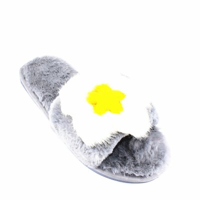 Sunflower Faux Fur Overlay Flat Slippers