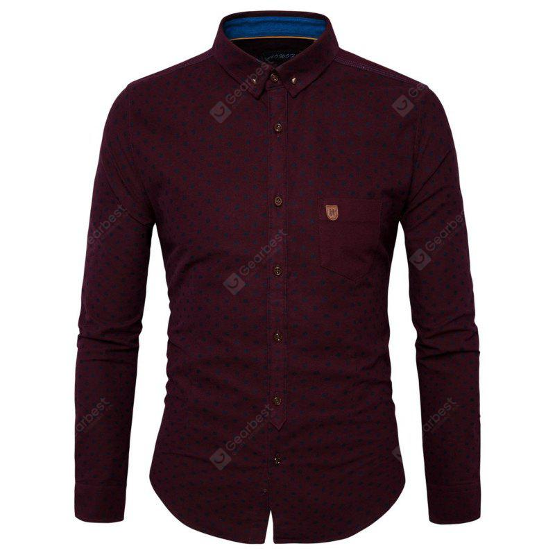 New Style Personality Pocket Labeling Men'S Long Sleeved Shirt Y952