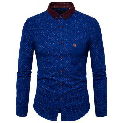 New Fashion Wave Point Printing Pure Cotton Man Body Long Sleeved Shirt -Y954