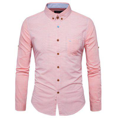 The New Spring Fashion Pinstripe Color Men'S Long Sleeved Shirt Y953