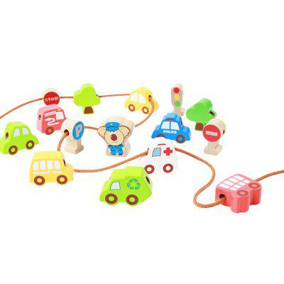 The Scene of Children Playing with Blocks of Wood Toys with Traffic Beads BH2603