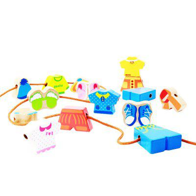 The Scene of Children Playing with Blocks of Wood Toys with Beaded Dress BH2604