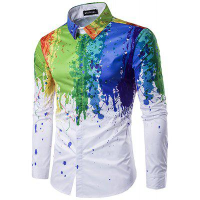 Long Sleeve 3D Splace Ink Casual Plus Size Shirt