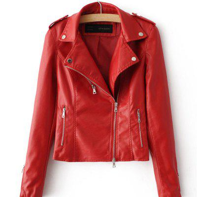 Spring and Autumn New Women PU Leather Women Short Slim Little Coat Motorcycle Clothing