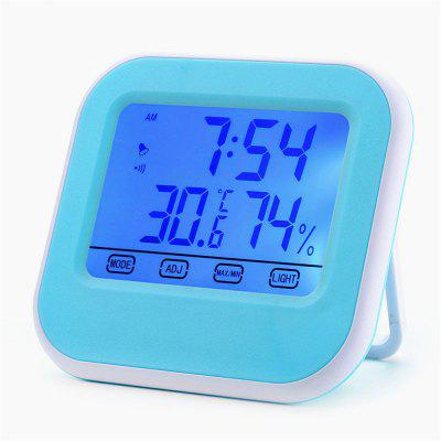 LCD Touch Screen Luminous Digital Thermometer / Hygrometer with Clock