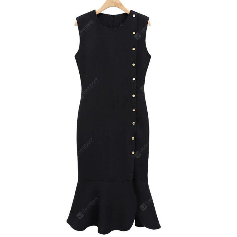 Women Bag Hip Sexy Black Single Breasted Slim Sleeveless Long Dress