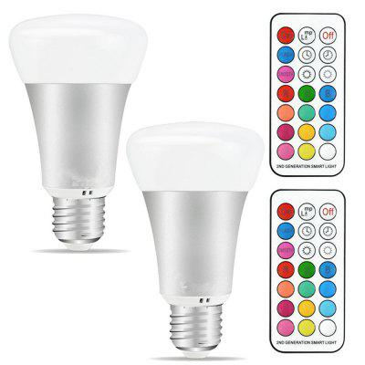 10W A19 Timing Remote Controller RGB Color Changing LED Light Bulbs Double Memory and Wall Switch Control 2Packs