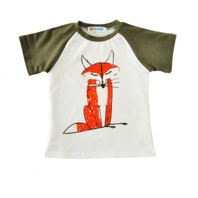 SOSOCOER Children Clothing 2-7T Cartoon Fox Printed Short Sleeved T - Shirt