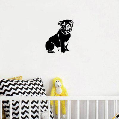 DSU Cute Sitting Bulldog Silueta Vinilo Etiqueta de La Pared Creativa de Dibujos Animados Animal Decoración de La Pared