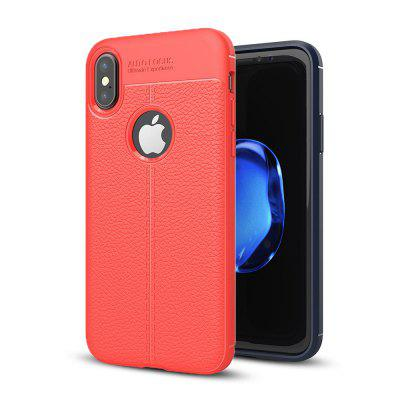 Litchi Texture Soft TPU Back Cover for iPhone X