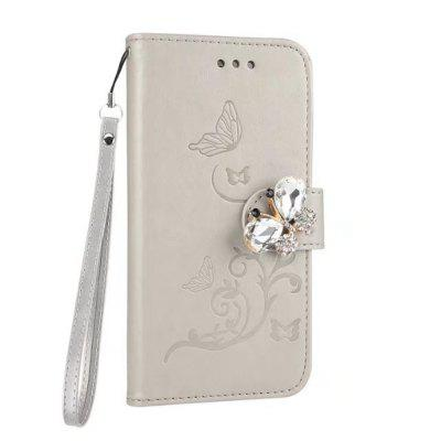 Wkae Embossing Pattern Flip Stand Retro Faux Leather Case with Rhinestone Clasp for iPhone 7 / 8