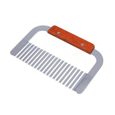 Wavy Crinkle Cutter Vegetable Dough French Fry Slicer Stainless Steel Blade Wooden Handle Chip Chopper Knife