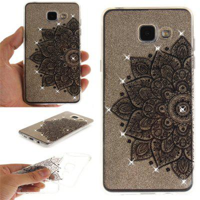 Black Half Flower Diamond Soft Clear IMD TPU Phone Casing Mobile Smartphone Cover Shell Case for Samsung A3 2016 A310
