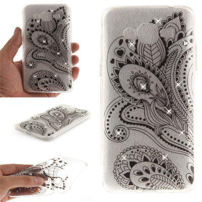 Peacock Flower Diamond Soft Clear IMD TPU Phone Casing Mobile Smartphone Cover Shell Case for Samsung J2 Prime