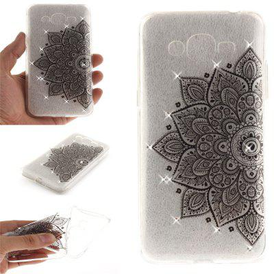 Black Half Flower Diamond Soft Clear IMD TPU Phone Casing Mobile Smartphone Cover Shell Case for Samsung J2 Prime
