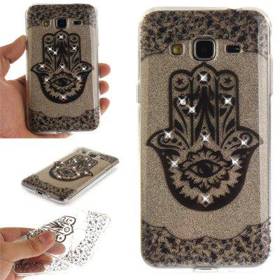 Palm Diamond Soft Clear IMD TPU Phone Casing Mobile Smartphone Cover Shell Case for Samsung J310 J3 2016