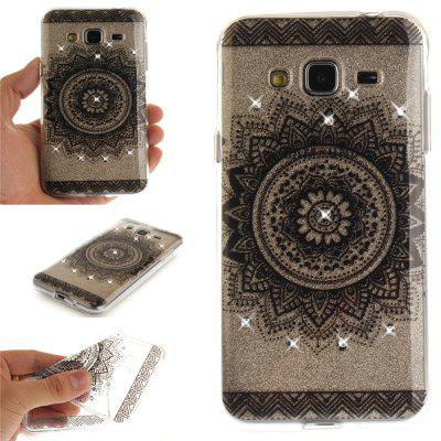 Black Datura Diamond Soft Clear IMD TPU Phone Casing Mobile Smartphone Cover Shell Case for Samsung J310 J3 2016