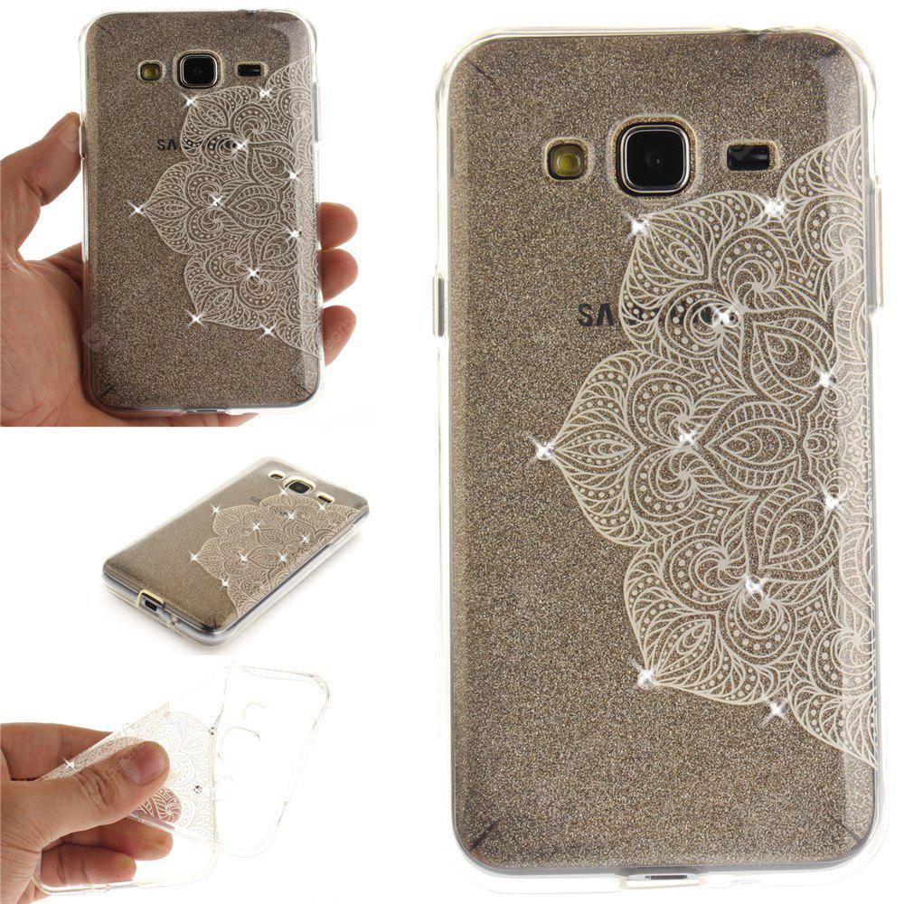 Half of White Flower Diamond Soft Clear IMD TPU Phone Casing Mobile Smartphone Cover Shell Case for Samsung J310 J3 2016